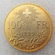 1925 SWITZERLAND SCHWEIZ 100 Francs Vreneli Gold or Silver Plated copy coin(China)