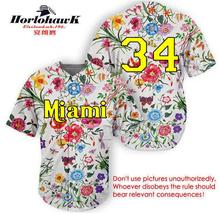 Horlohawk 2017 New Design Miami Baseball Jersey Embroidery Stitched #34 Nice Jersey Can do any number(China)