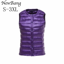 Women Ultra Light Down Vest Portable Single Breasted Lightweigt Sleeveless Without Collar Winter Warm Liner With Bag 9 Colors(China)
