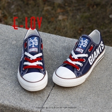 New Arrival 2017 New York Giants Championship Shoes NY Giants Canvas Shoes For Fans Big Size Men Boy Graffiti Shoe Free Shipping(China)