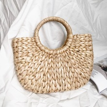 Triple Stone Simple Retro Small Circle Handle Tote Straw Rattan Weave Women handbag Vintage Summer Beach Bag Female Shoulder Bag