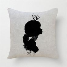 Sexy black printing head of a woman   cushions home deco  sofa covers vintage throw pillows hips  decoration
