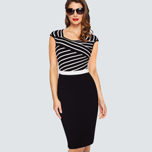 Women's Work Wear Sheath Fitted Bodycon Dress Casual Summer Classic Black And White Stripe Patchwork Ladies Office Dresses HB400(China)