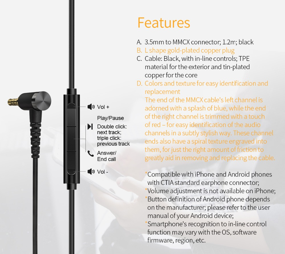 FIIO RC MMCX3S 3.5mm Single ended MMCX connector Earphone cable with in  line controls Microphone for F9 PRO FH3 1.2mm RC MMCX3S Earphone  Accessories  - AliExpress