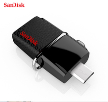 100% original SanDisk Ultra Dual OTG USB 3.0 pen Drive SDDD2 130M/S 16gb 32gb 64gb 128gb usb flash drive for Android phone/PC(China)