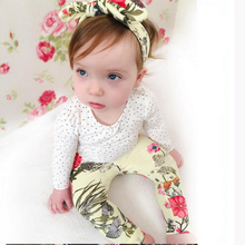 2017 Autumn baby girl clothes baby clothes set cotton long-sleeved T-shirt + flower trousers newborn girl clothes set SY172