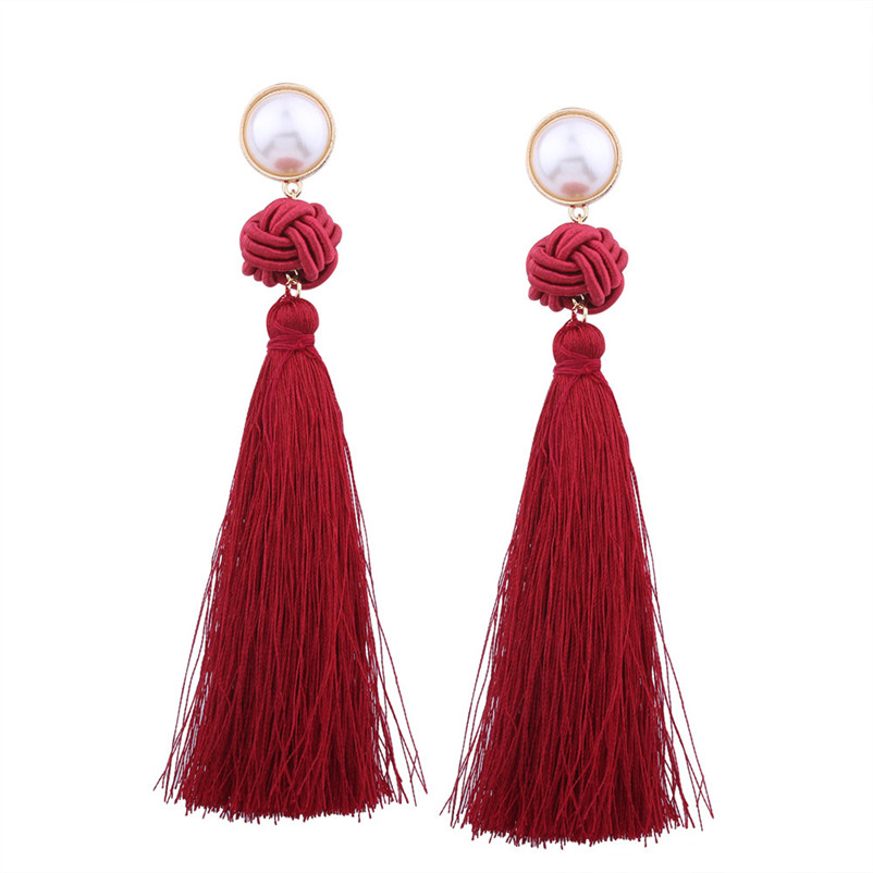 Trendry Earrings for Women Vintage Bohemian Fashion Weave Tassel Earrings Long Drop Earrings Jewelry for gift Brincos J05#N (4)