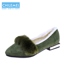 Women Pumps Winter Nude Shoes Keep Warm Furry Plush Fashion Pointed Toe Square Heel Low Heels Dress Office Slip On Shoes(China)