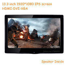 13.3 inch 1920*1080 1080p HD screen monitor IPS HDMI/VGA/DVI driver for Raspberry pi banana pi XBOX PS3 PS4 game display monitor