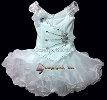 2016 New Design Cheap Toddler Prom Dresses Tiered Ruffled Organza Kids Pageant Dresses