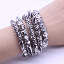 3 Colors Free Shipping European And American Fashion Wild Rivet Punk Elastic Spiked Bracelets For Women Fashion Jewelry(China)