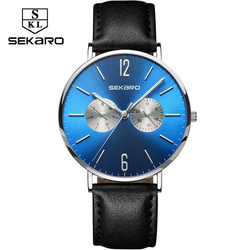 Sekaro watches mens quartz Wristwatches mens fashion belt bracelet watch mens top brand waterproof double calendar male watch<br>