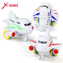 X-cool 1 Pcs Children Toys Colorful Mini Inertia Model Airplane Cartoon Gift Friction Toy for boy 1-3 years