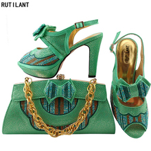 Latest Water Green Color Matching Shoe and Bag Set Decorated with Rhinestone Nigerian Party Shoes and Bag Set Italy Shoe and Bag(China)