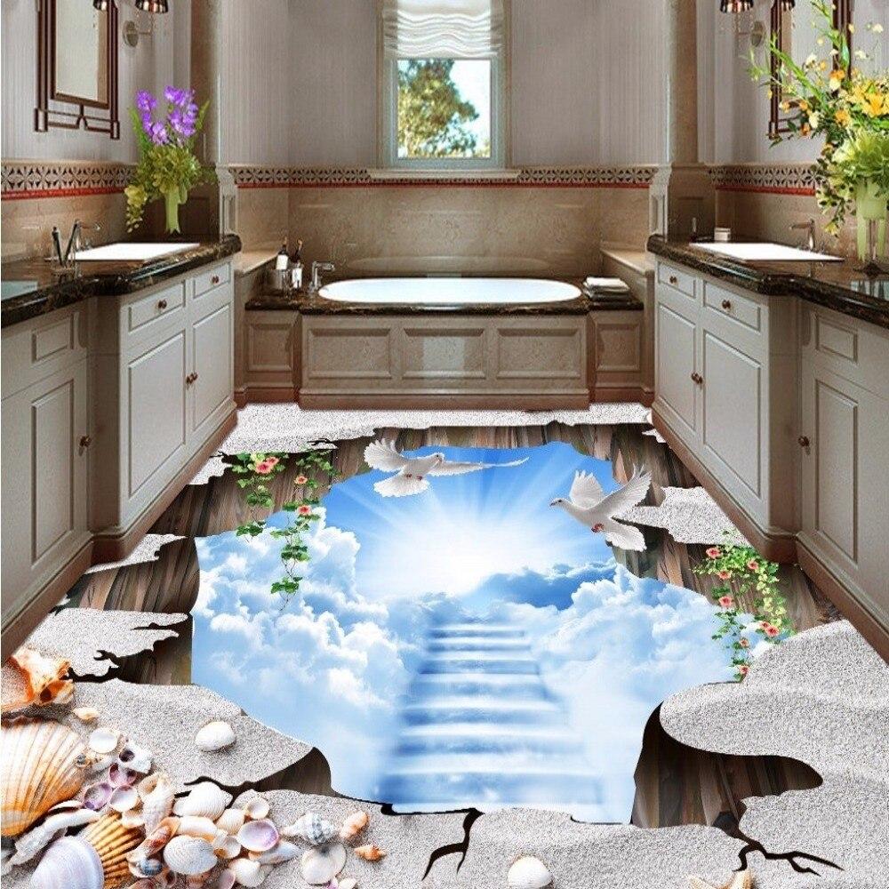 Free Shipping Naked eye 3D ground floor paste wear non-slip waterproof bathroom lobby living room flooring wallpaper mural<br><br>Aliexpress
