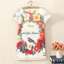 fashion women 2014 clothes 3 d design digital printing design of birds and flowers Polyester fiber top cropped