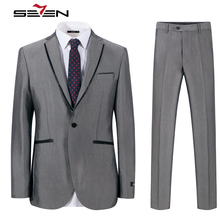 Seven7 Brand Mens Suits 2017 Slim Fit Grey Luxury Male Blazer Wedding Suit For Groom Tuxedo Business Party Jacket Pants 703C1203(China)