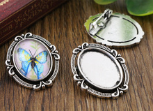 8pcs 13x18mm Inner Size Antique Silver Brooch Simple Style Cameo Cabochon Base Setting Charms Pendant necklace findings (D4-40)(China)