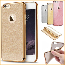 Luxury Glitter Bling Back Skin Case For iPhone 7 7 Plus Crystal Soft Gel TPU Case Plating Gilded Cellphone Bag Capa Coque MN004(China)