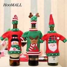 Hoomall Cartoon Wine Bottle Cover Set New Year Christmas Decorations for Home Santa Claus Snowman Elk Xmas Navidad Party Decal(China)