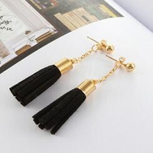 South Korea temperament fashion jewelry cortex wild exquisite simplicity tassel female earrings manufacturers wholesale(China)