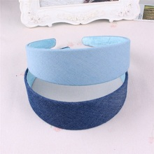 2017 New Women's Headdress,Solid Color Denim Dark Blue Light Blue Headband,Simple Hairands For Student Girls A269(China)