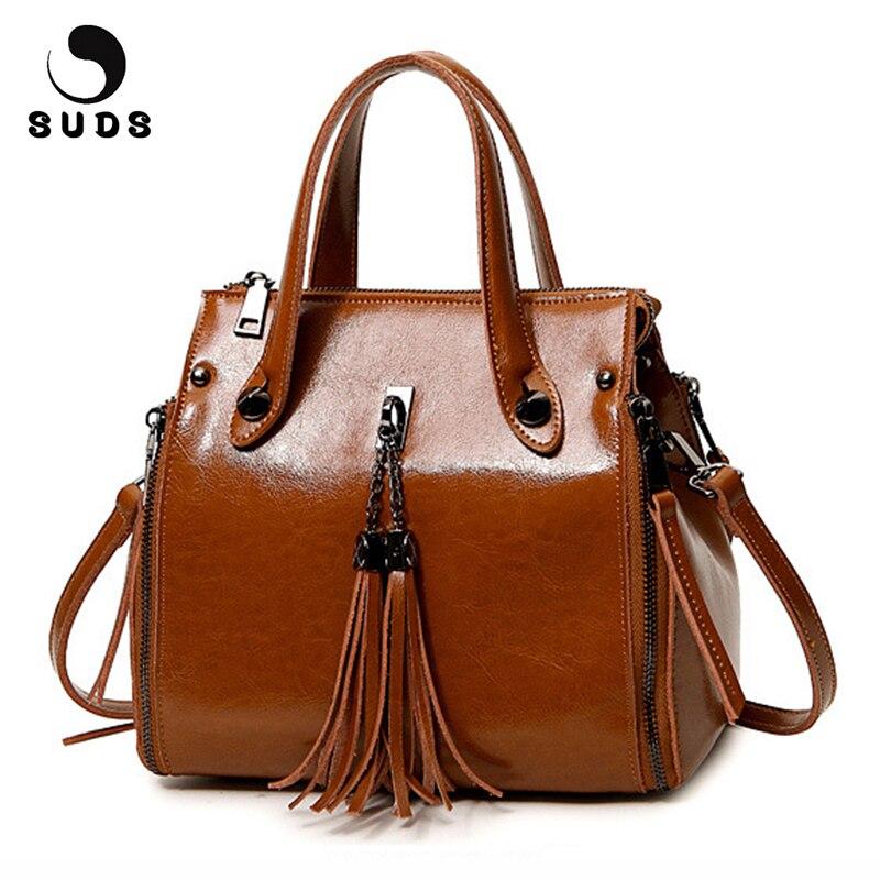 SUDS Brand Women Bag Genuine Leather Tassel Handbags Female New Fashion Solid Crossbody Bags Women Cow Leather Shopping Tote Bag<br>