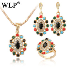 WLP 2018 New Arrival Gorgeous Bohemia Vintage jewellery sets Water drop flowers type Resin Antique Gold silver Gifts party Women(China)