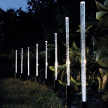 8 Pack Whites Solar Tube Lights Solar Acrylic Bubble Pathway Decoration Garden Stick Stake Light Set