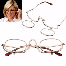 1x Magnifying Makeup Eye Alloy Glasses Women Lady Make-up Spectacles Flip Down Lens(China)