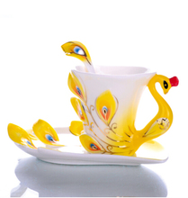 Ceramic Peacock Mug Coffee Cup Elegent Porcelain Tea Cup Set With Saucer Tray Spoon Yellow(China)