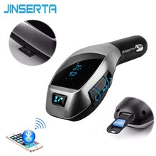 JINSERTA Music MP3 Player Bluetooth Car Kit Wireless Handsfree FM Transmitter Radio Adapter FM Modulator USB For iPhone Samsung