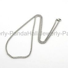 "316 Stainless Steel Necklaces,  Cube Chain Necklace for Men,  with Lobster Claw Clasps,  Stainless Steel Color,  19.6""x2mm"