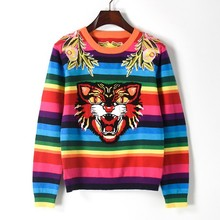 European street style 2017 autumn winter new sweater women high quality flower embroidery animal colorful stripe knitwear tops(China)