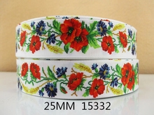"David accessories 1""(25mm) Flower Floral Printed Grosgrain Ribbon 10Y,Gift Wrap Decoration Tape DIY Garment Accessories 10Yc713(China)"