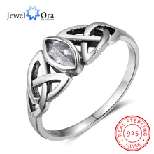 Women Solid 925 Sterling Silver Rings Flowers Pattern With Zirconia Vintage Style Women Jewelry Gift Ideas (JewelOra RI102752)