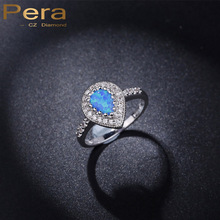 Pera CZ New Fashion Big Teardrop Light Blue Mystic And White Crystal Stone Paved Fire Opal Finger Women Party Ring For Gift R043