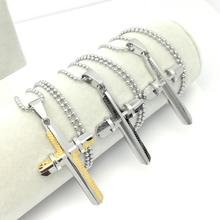Men Woman Simple Cross Crucifix Pendant Stainless Steel 2 Layer Titanium Necklace Silver Tone Jewelry