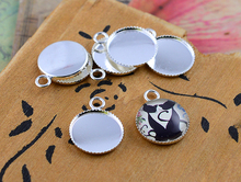 20pcs 12mm Inner Size Silver Plated Brass Material Simple Style Cabochon Base Cameo Setting Charms Pendant Tray (A1-04)