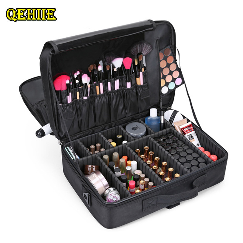 2017 New Cosmetic Case Multi-layer Professional Cosmetic Bag Lady Cosmetologist travel portable Toolbox organizer<br>