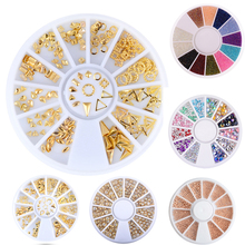 BORN QUEEN Gold Metal Nail Rivets Rhinestones Beads Half Pearls 3D Geometry Decoration DIY Manicure Nail Art Jewelry in Wheel(China)