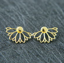 Original 925 Sterling Silver silver gold colors plain fine silver flower women jacket earring studs(China)