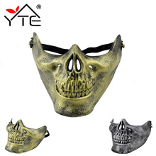 Skull Skeleton Mask Half Face Protect Airsoft Mask Actual Combat Warrior For Halloween Party Masks(China)