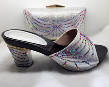 Shoes and Bag Silver Color African Shoes and Bags Matching Set Decorated with Stone High Quality Nigreian Party Shoes and Bag(China)