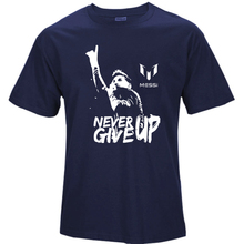 Leo Messi NEVER GIVE UP Tshirt FC BARCELONA T-shirt MESSI 10 100% Cotton t-shirt jersey fans for shirt S64(China)