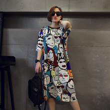 B1116 spring 2017 women han edition of the new easing long round collar cartoon large size ladies dress with short sleeves