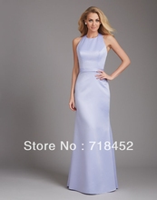 Sexy Backless Bridesmaid Dresses Lilac Stain Halter Sheath Full Length off the Shoulder Free Shipping SV251