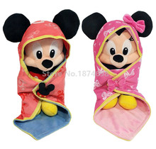 New Babies Mickey Minnie Baby Plush Pelucia Swaddle With Blanket Toy 28cm Cute Stuffed Animals Kids Toys Dolls Children Gifts(China)