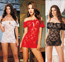 063New arrivel sexy lingerie women lace shoulder off flower perspective  bodydolls four color erotic costumes sleepwear