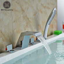 5 Pcs Waterfall Spout Bathtub Faucet Tap 3 Handle Bathroom Tub Mixer Faucet Chrome Finish 5 Holes(China)